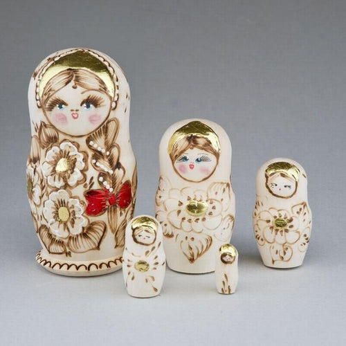 5 Piece Wooden Nesting Doll, Natural with Gold Accents 6