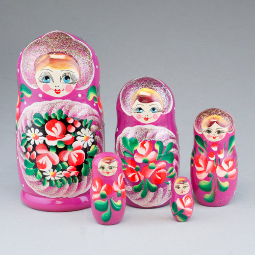 5 Piece Wooden Nesting Doll, Colorful with Glitter 7