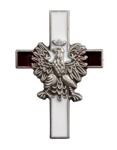 Lapel Pin - Eagle Cross,  Antique Silver Finish White & Deep Red