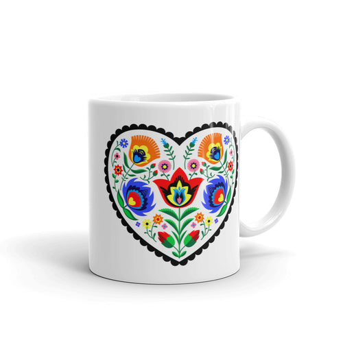 Polish White Heart Wycinanki Mug