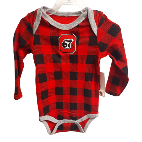 67's Plaid Infant Onesie by Snugabye