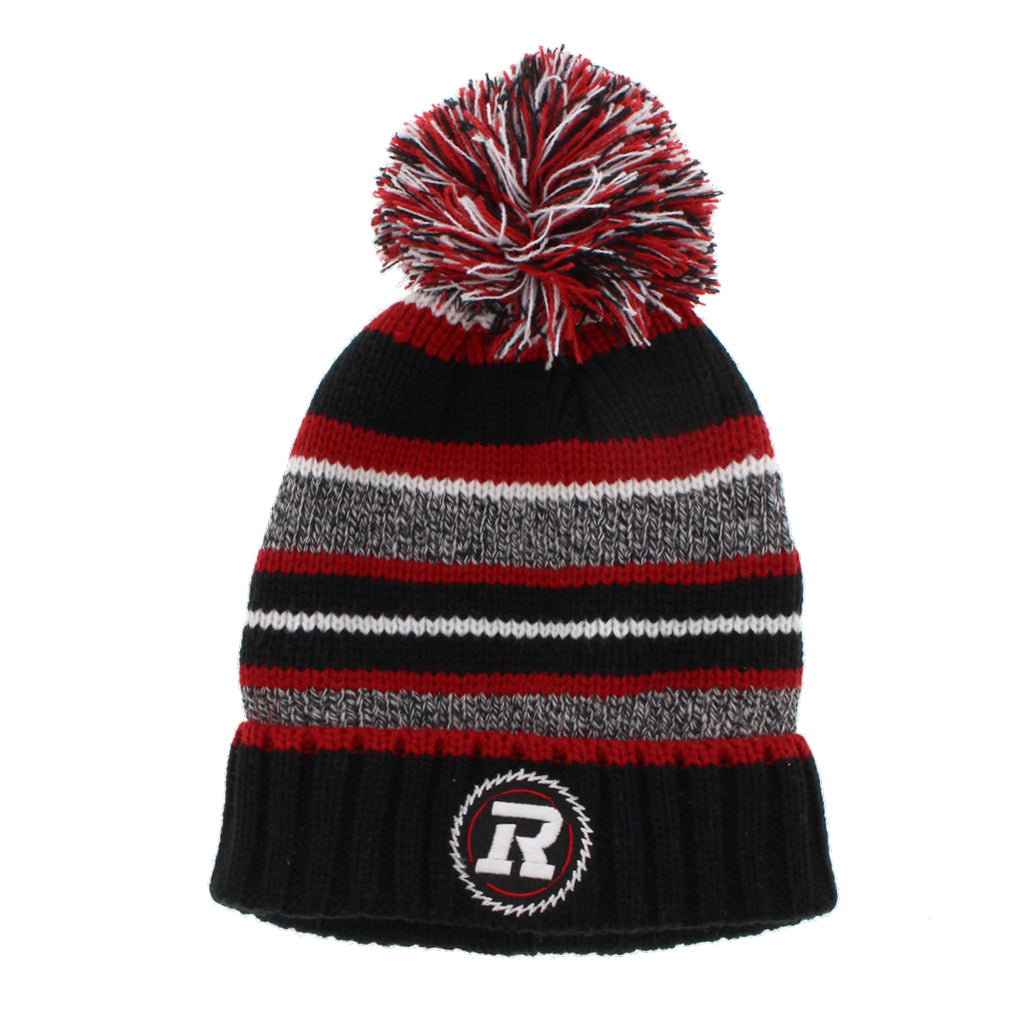 REDBLACKS Striped Pom Toques