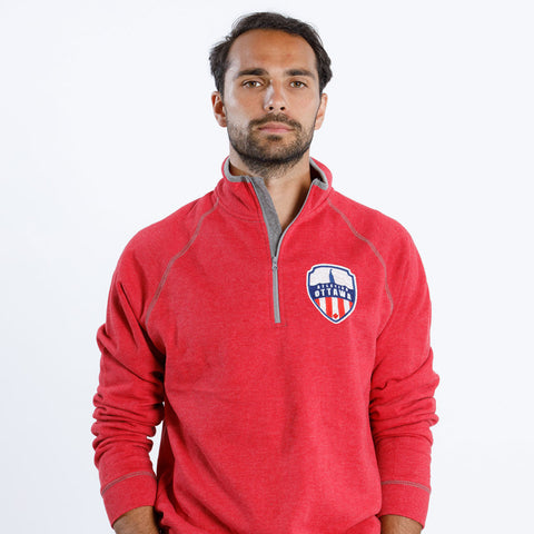 Atlético Ottawa Primary Logo x Campus Crew 1/4 Zip - Red