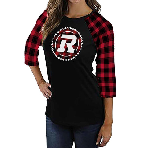 REDBLACKS Women's Plaid Raglan 3/4 Tee
