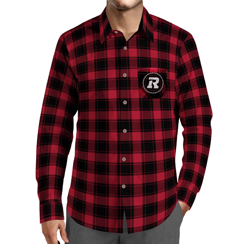 REDBLACKS Men's Plaid Button-Up