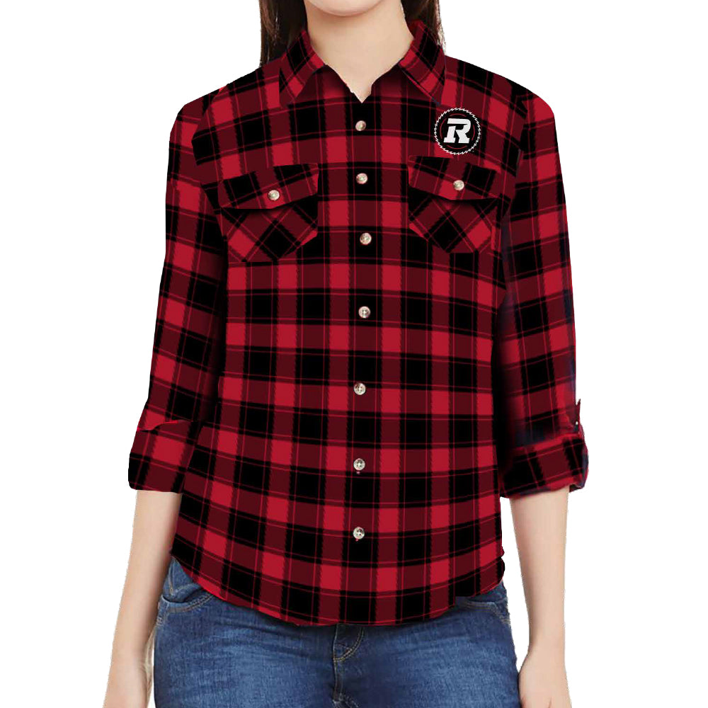 REDBLACKS Women's Plaid Button-Up