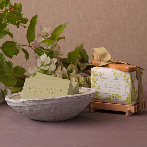 Gardener's Bar Soap with Wooden Tray
