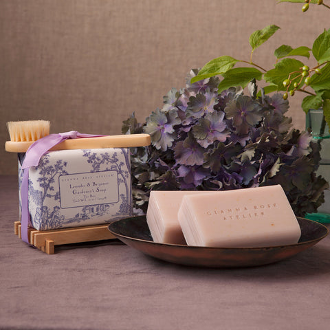 Gianna Rose Lavender & Bergamot Bar Soap with Wood Tray