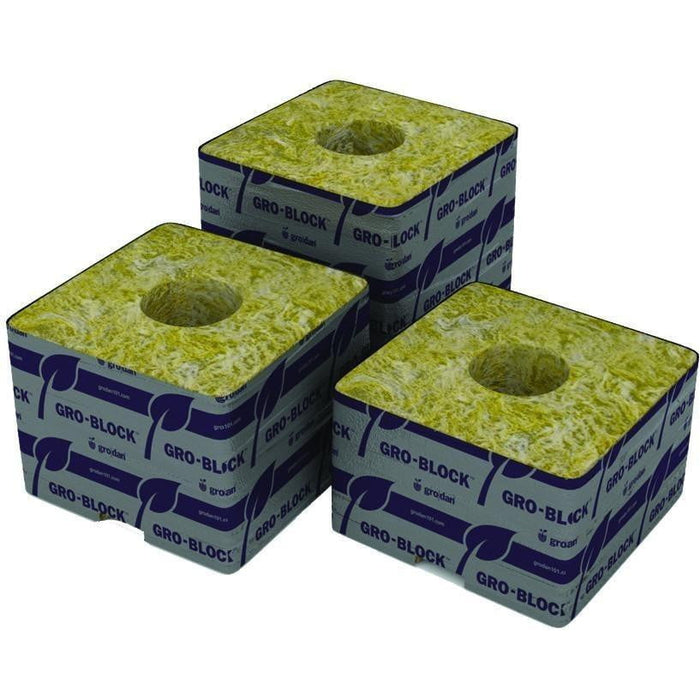 "Grodan Delta 10 Block, 4"" x 4"" x 4"", with holes 6 per Strip - HydroPros.com"