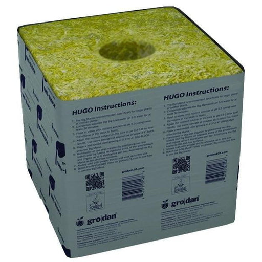 "Grodan Hugo Gro-Block, 6"" x 6"" x 5.8"", with hole - HydroPros.com"