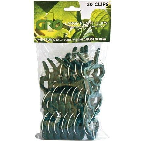 Gro1 20 Pack Large Plant Clips Reusable Spring - Loaded Clips - HydroPros.com
