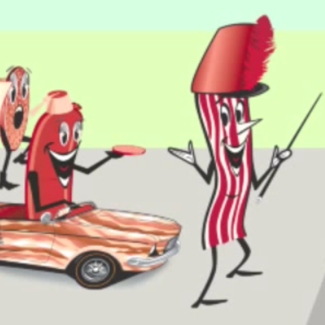 Meat car driven by sausage runs into mr bacon