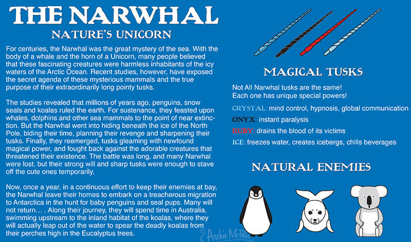 Avenging Narwhal Story on back of package