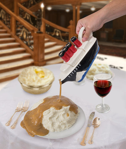 Titanic Gravy Boat pouring on pile of mashed potatoes on table