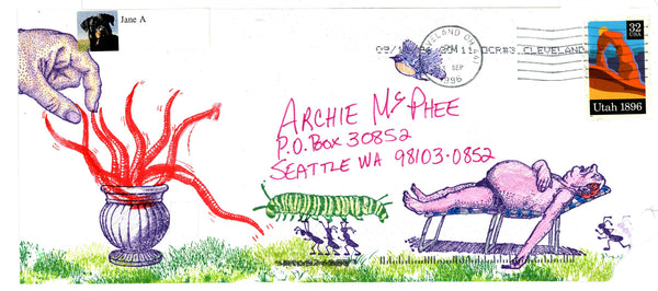 Colorful Mutant beach scene envelope art archie mcphee