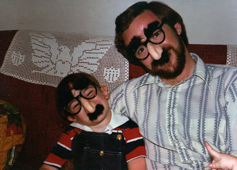 Kirk Demarais and dad in beagle puss glasses