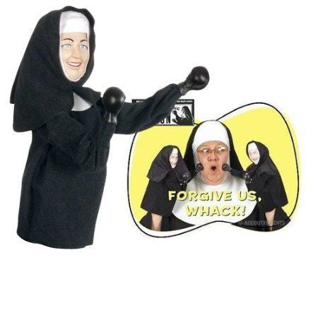 Real nun with punching nun puppets forgive us whack