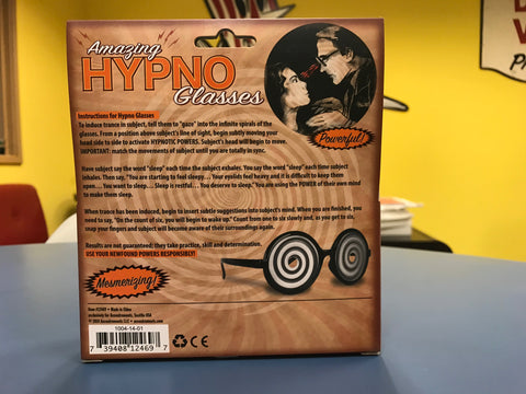 Instruction for Amazing Hypno Glasses back of package