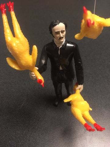 Edgar Allan Poe juggling rubber chickens