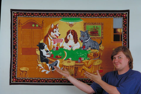 David Wahl with Dogs Playing Blackjack Picture