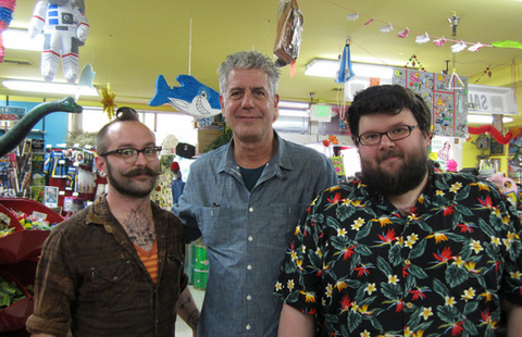 Fuzz with Anthony Bourdain at Archie McPhee