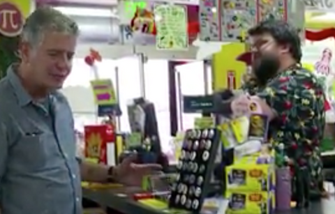 Anthony Bourdain at Archie McPhee with Fuzz