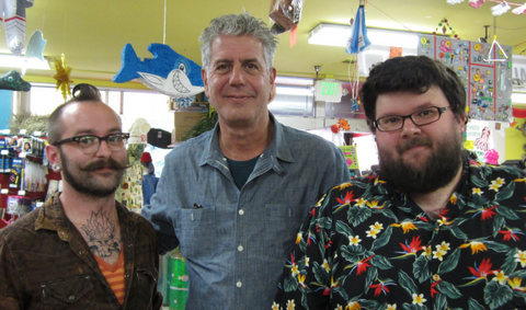Dan'l, Fuzz and Anthony Bourdain at Archie McPhee in Wallingford