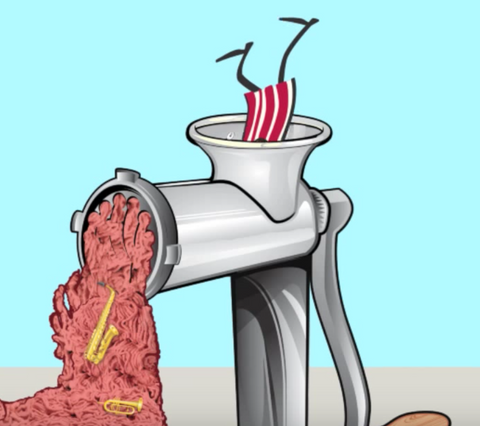 Mr. Bacon going into a meat grinder
