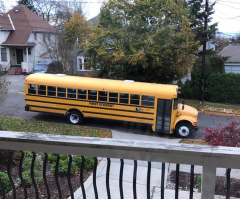 Bus parked in front of David Wahl's driveway.