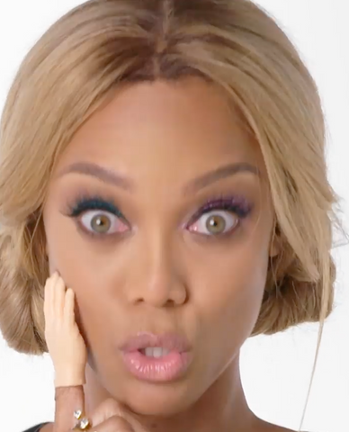 Allure Magazine got Tyra Banks to try 9 (wacky) Things She's Never Done Before. One of them was to put makeup on with one of our Finger Hands.