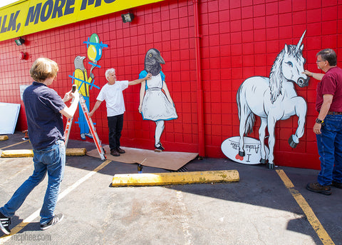 Almost completed art on Archie McPhee store in Wallingford