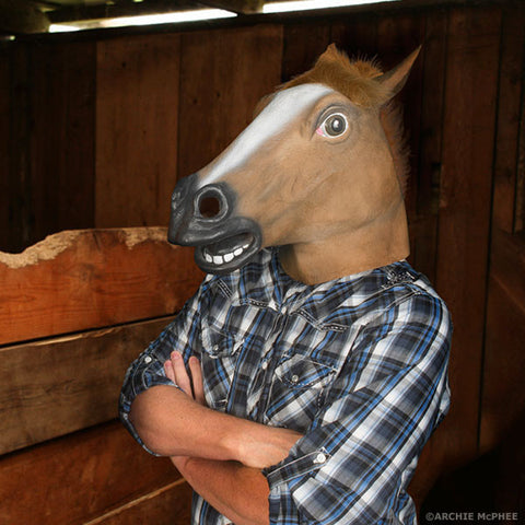 Man in horse mask standing in a stable with arms crossed