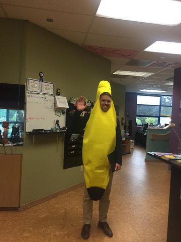Salesman in Banana Suit in Lobby
