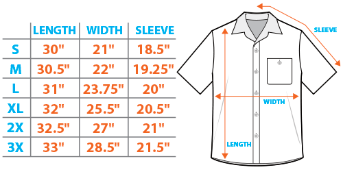 Button Down Shirt Size Chart