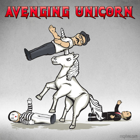 Heavy Metal Avenging Unicorn Piercing Hipster with Horn