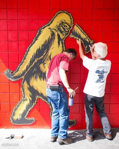 Bigfoot arm installation at Archie MCPhee
