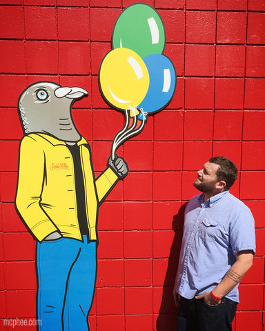 Heff with Yuji Pigeon Man holding balloons strange friends