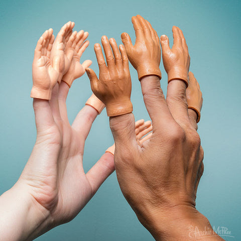 High Five with light and dark skin tone Finger Hands tiny hands