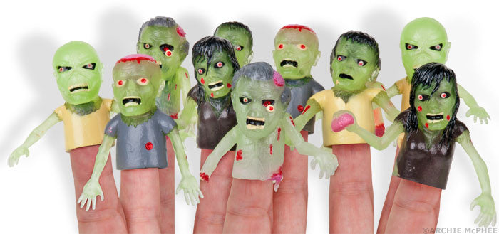 Glow Zombie Finger Puppets-Archie McPhee