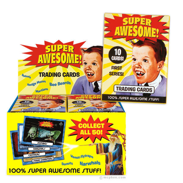 Super Awesome Trading Cards - Box of 24 Packs-Archie McPhee