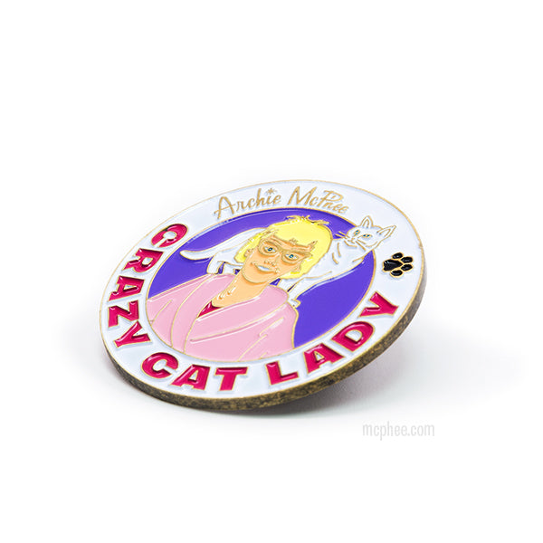 Crazy Cat Lady Enamel Pin-Archie McPhee