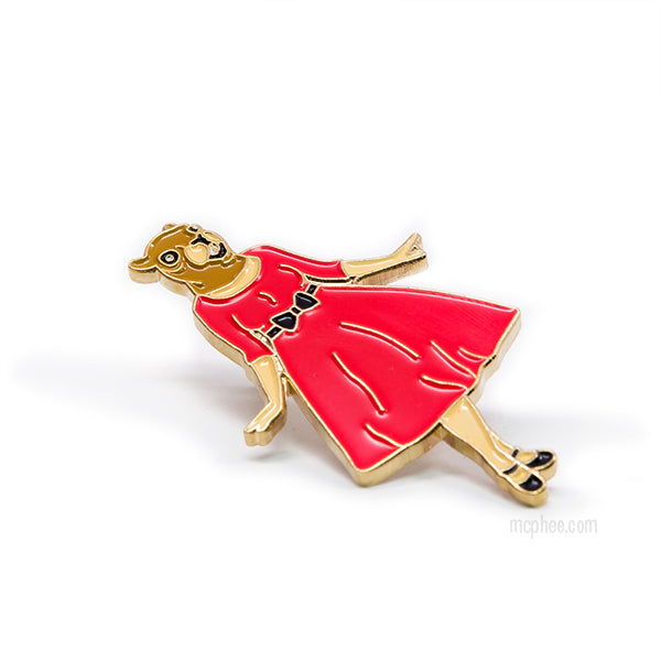 Squirrel In Red Dress Enamel Pin-Archie McPhee
