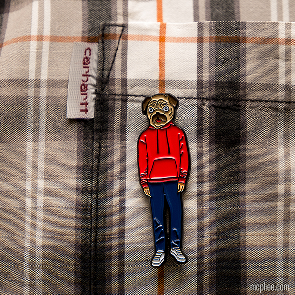 Pug Man Enamel Pin