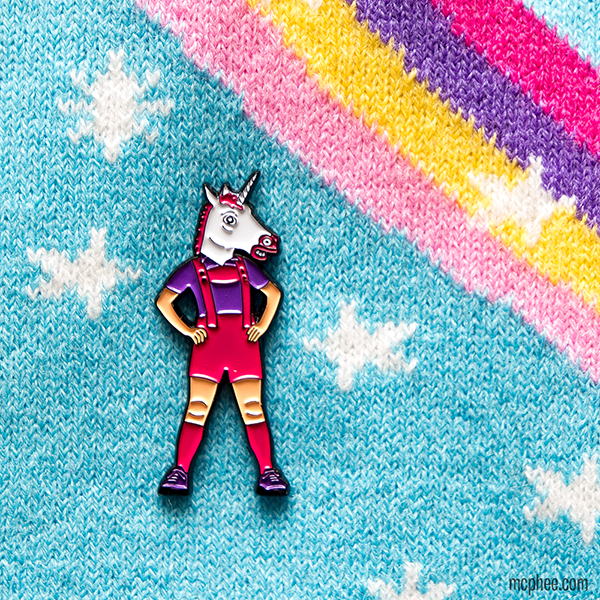 Unicorn in Lederhosen Enamel Pin
