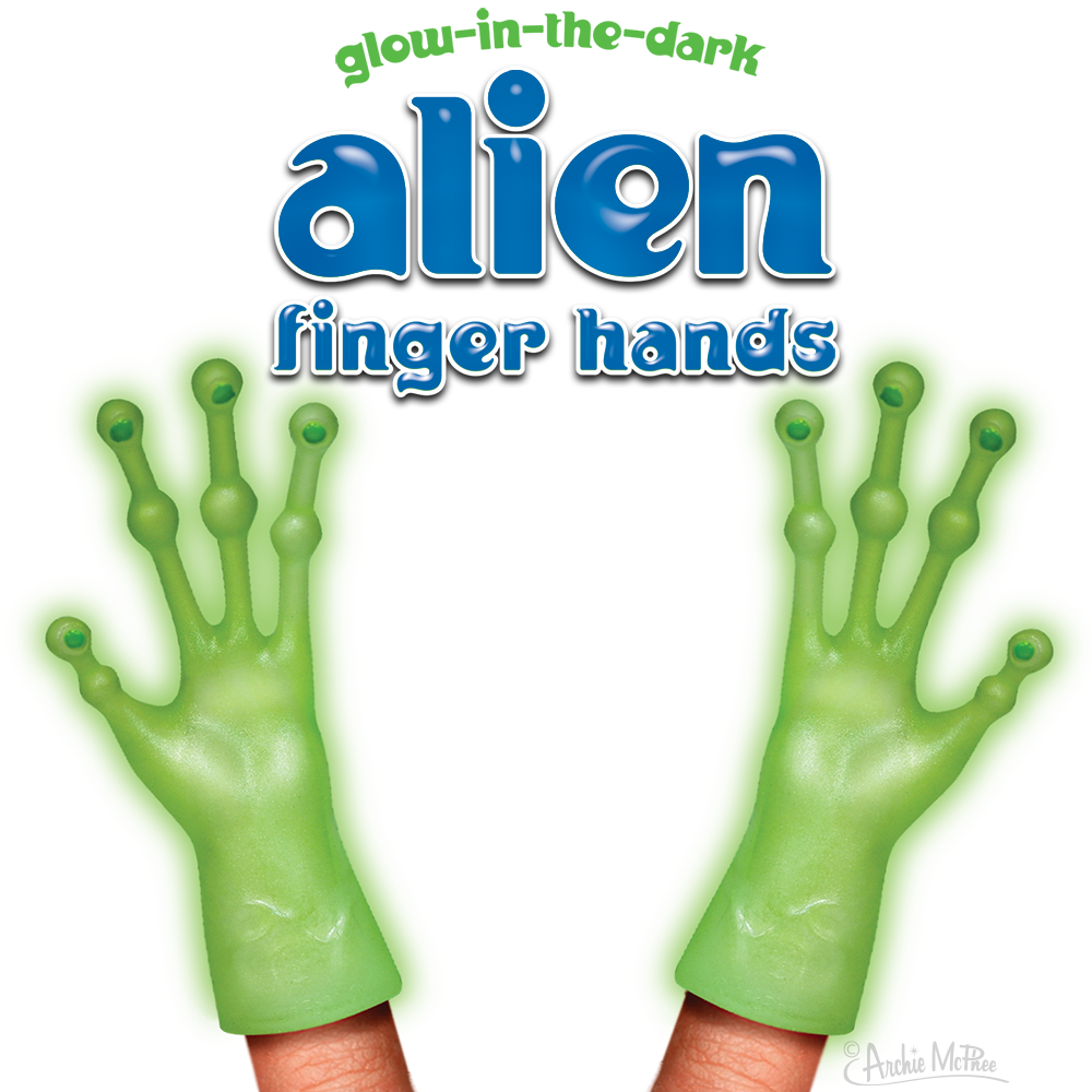 Glow-in-the-Dark Alien Finger Hands Bulk Box