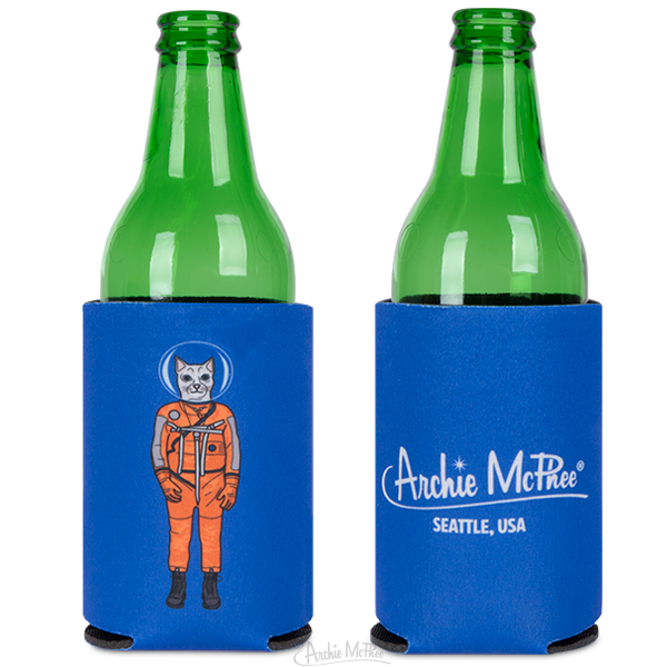 Cat Astronaut Can Cooler
