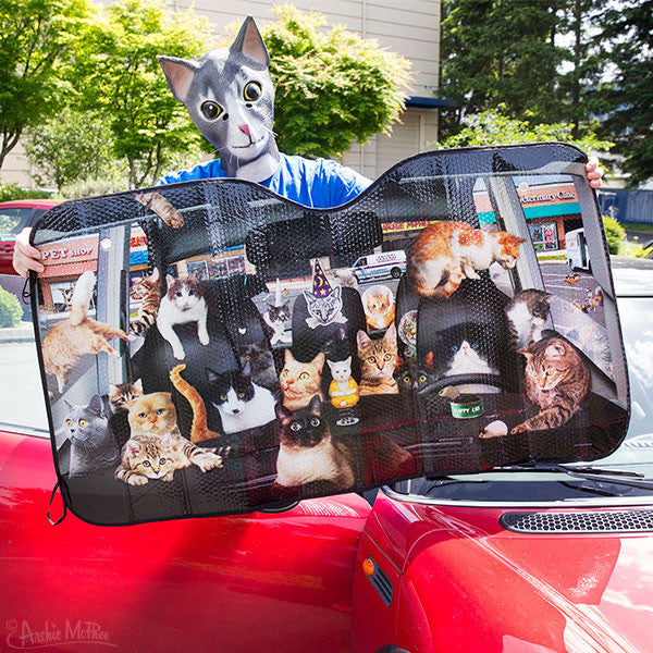 Car Full of Cats Auto Sunshade-Archie McPhee
