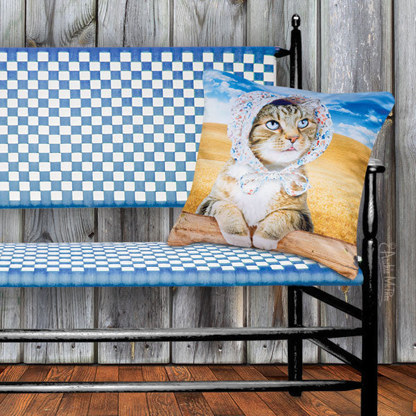 Cat in Bonnet Pillow Cover-Archie McPhee
