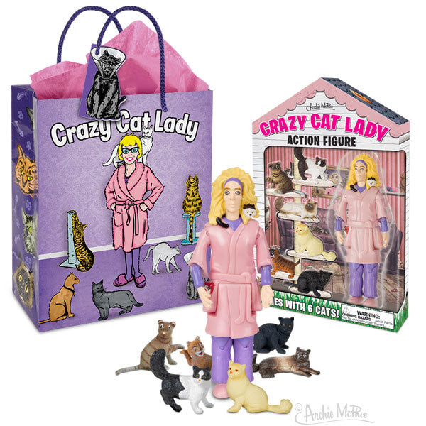 Crazy Cat Lady Action Figure Gift Set-Archie McPhee