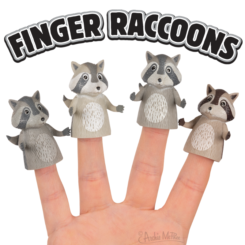 Finger Raccoons - Set of 4
